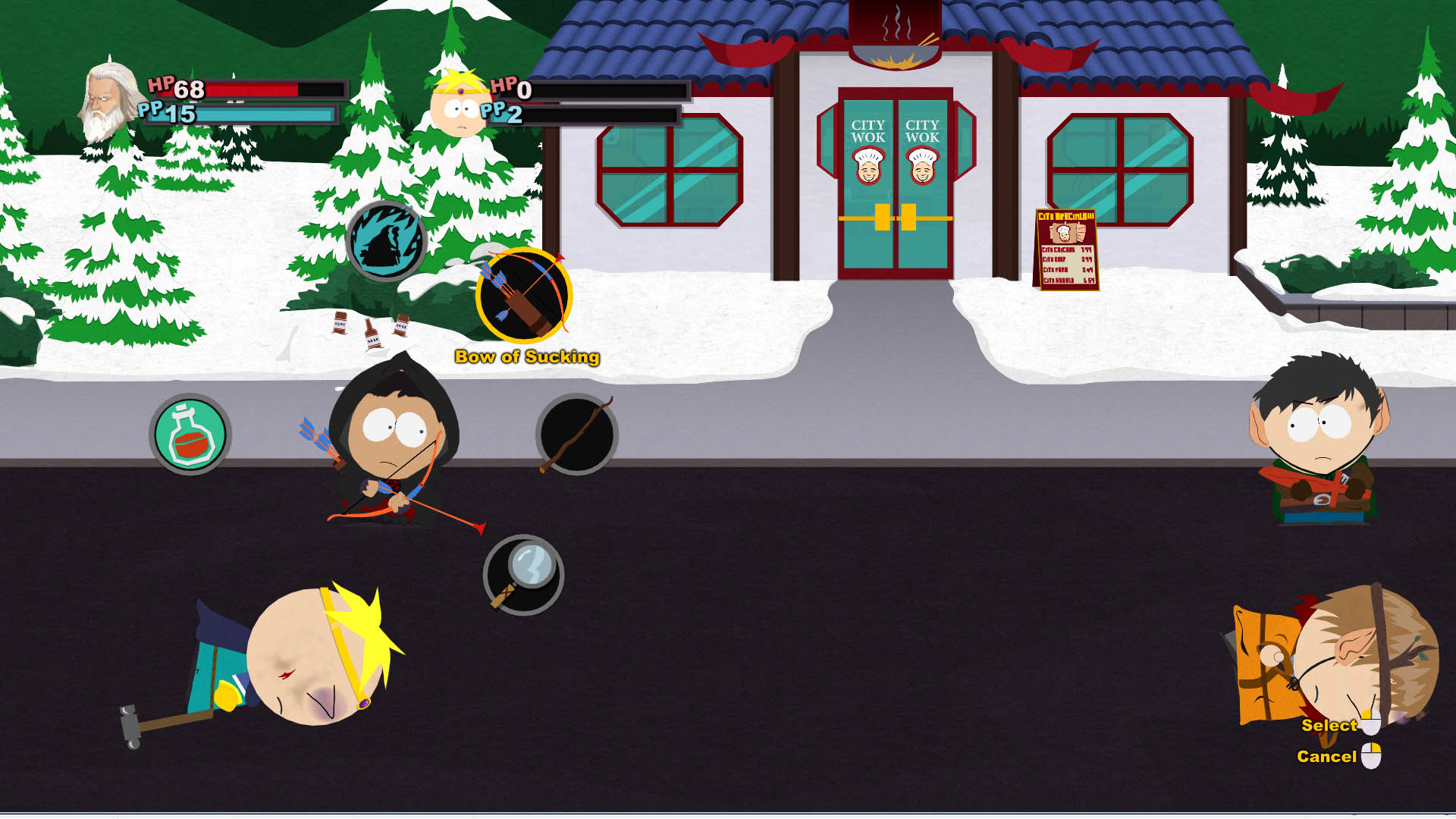 Butters KOed in Stick of Truth Combat